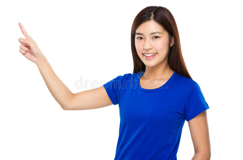 Asian woman with finger showing up stock images