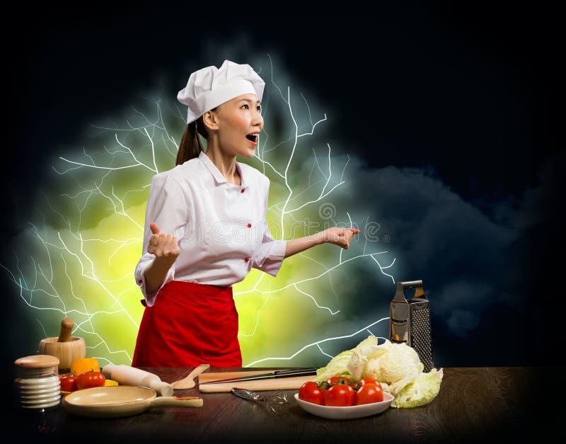 Asian woman furious cook, collage stock photos