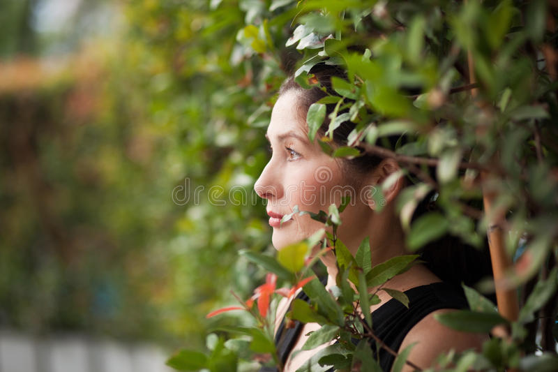Asian Woman in the Garden. The asian woman in the Garden stock images