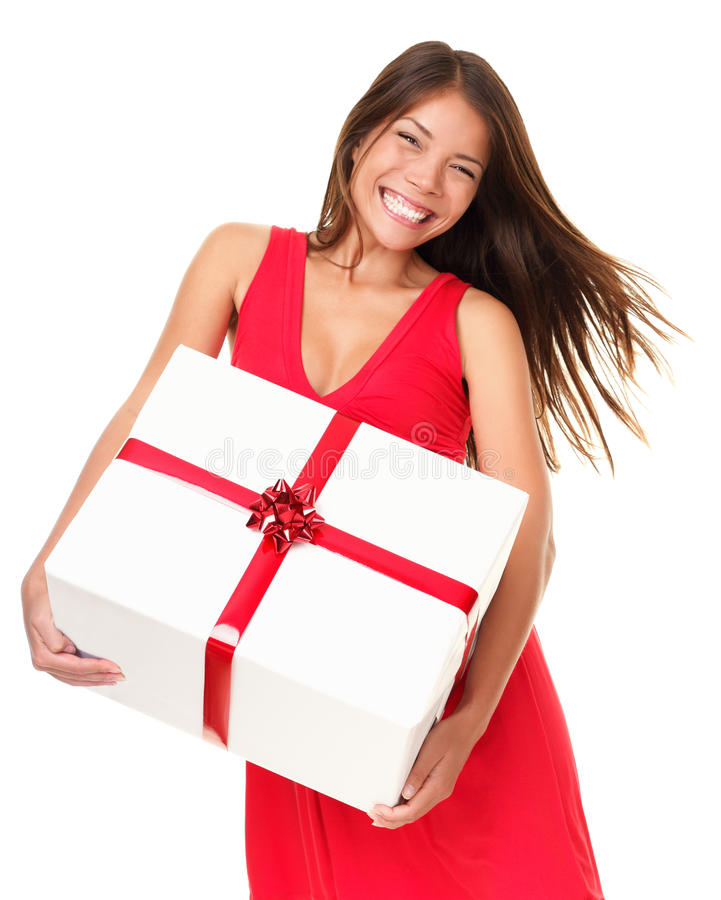 Asian woman with gift. Asian woman holding big gift happy and excited. Isolated on white background stock photo