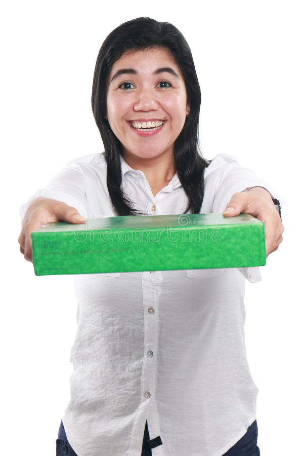 Asian Woman Giving Green Gift Package Box royalty free stock photography
