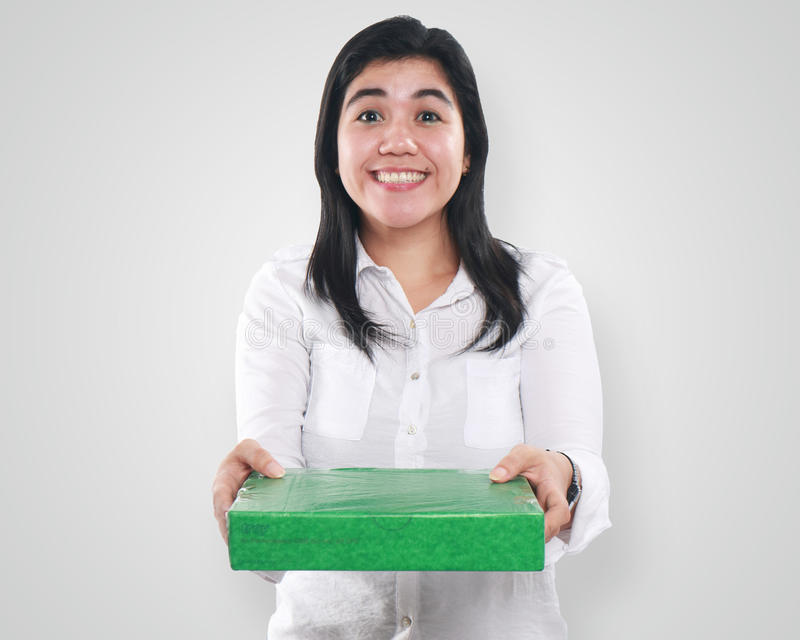 Asian Woman Giving Green Gift Package Box stock photos