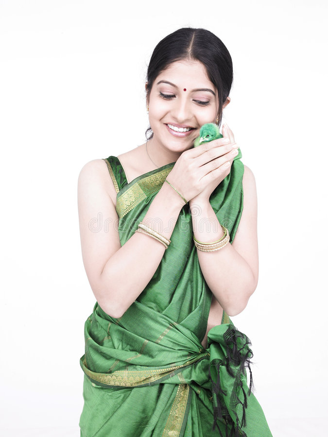 Download Asian Woman With A Green Chick Stock Images - Image: 7333084
