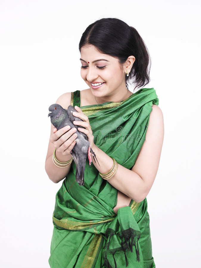 Download Asian Woman With A Grey Dove Stock Photo - Image: 7333290