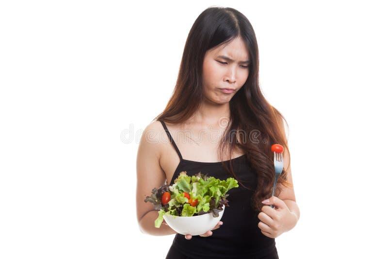 Asian woman hate salad. Asian woman hate salad isolated on white background stock image