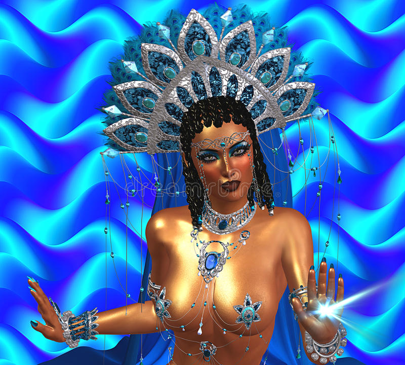 Asian woman with healing light coming from her hand. Beautiful face, cosmetics, diamonds and jewelry. stock illustration