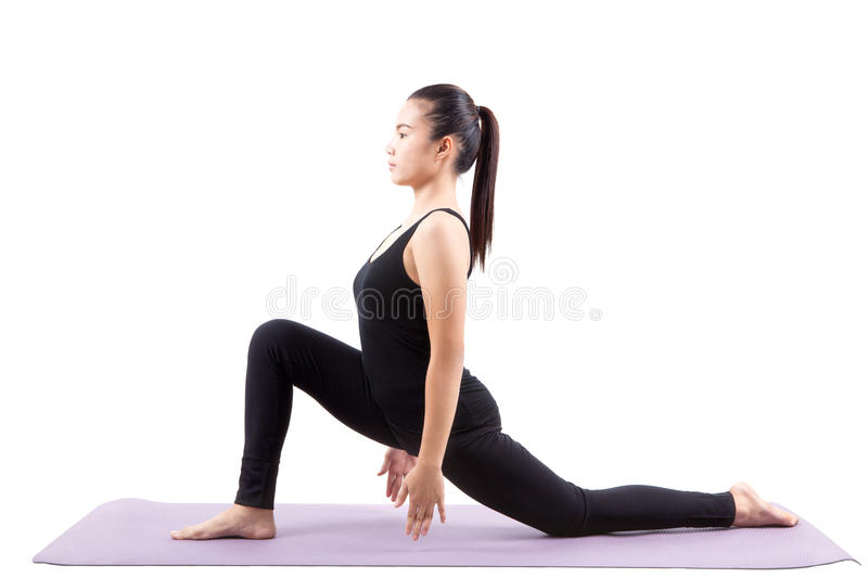 Asian woman health care yoga posting isolated white background stock photos