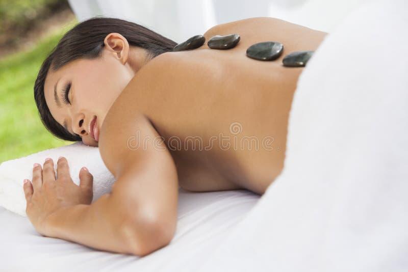 Asian Woman Health Spa Hot Stone Treatment Massage royalty free stock photography