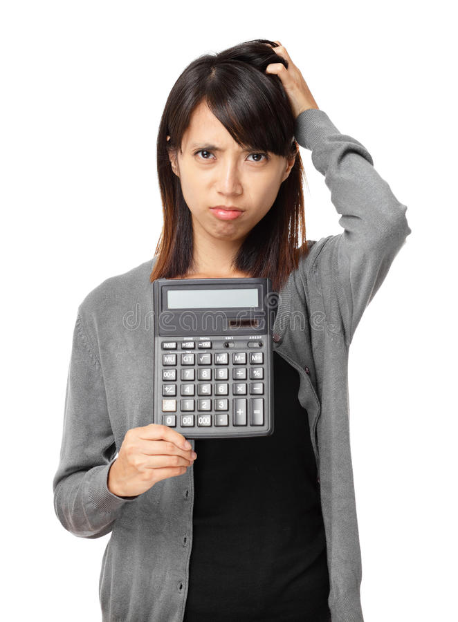Asian woman holding calculator