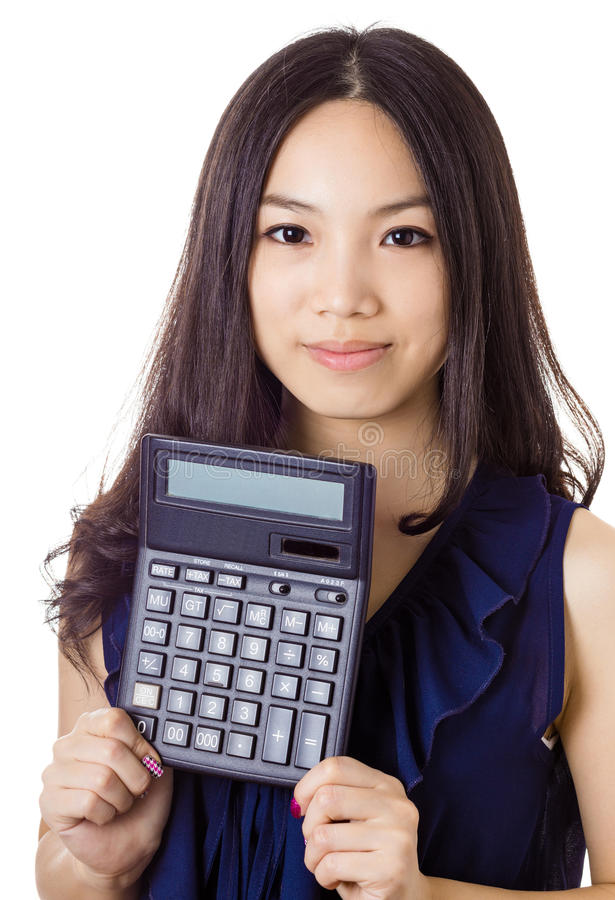 Asian woman holding calculator. Isolated on white background royalty free stock photos