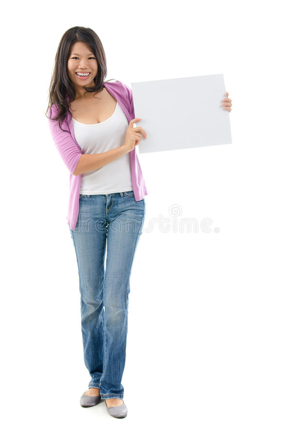 Asian Woman Holding Placard Stock Image