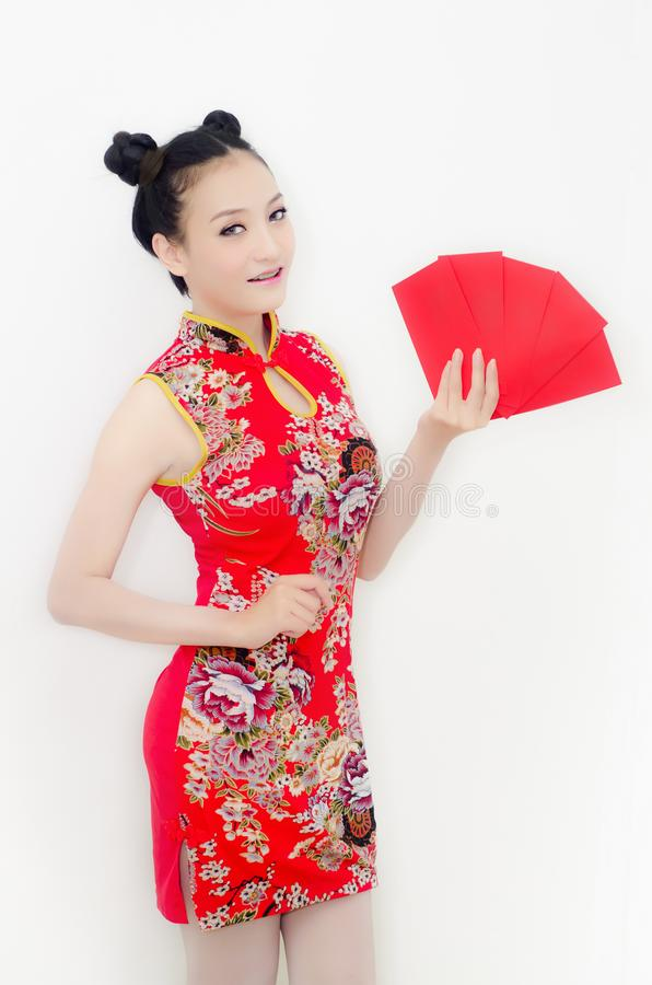 Asian woman holding red envelope.Happy chinese new year concept stock photo