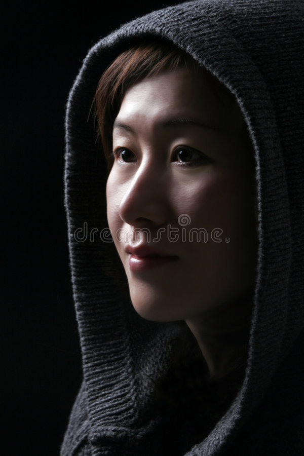 Asian Woman With Hood royalty free stock image