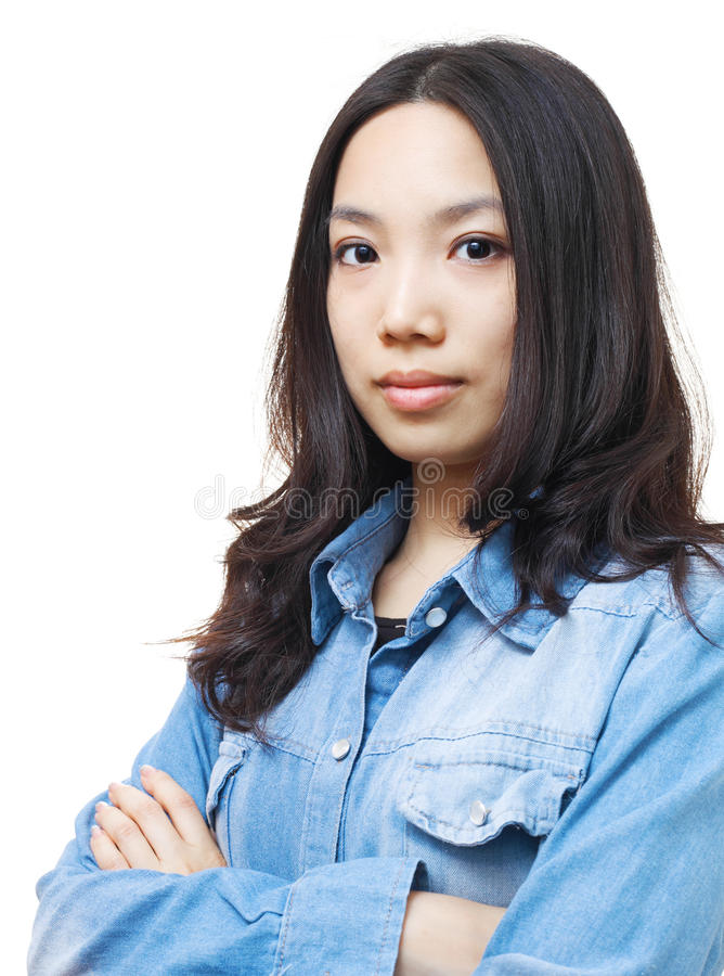 Asian woman. Isolated on white background stock photo