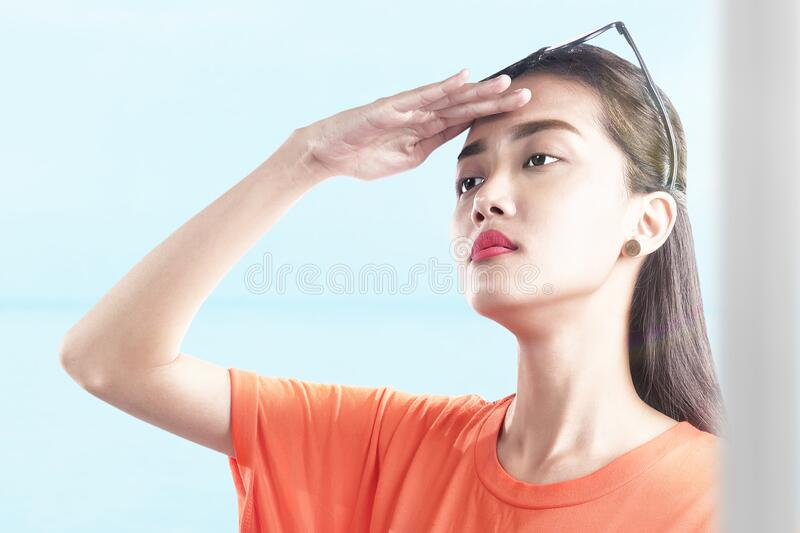 Asian woman looking at scenery view royalty free stock images