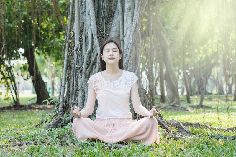 Asian woman make a meditation under big tree in the garden for good health stock photos