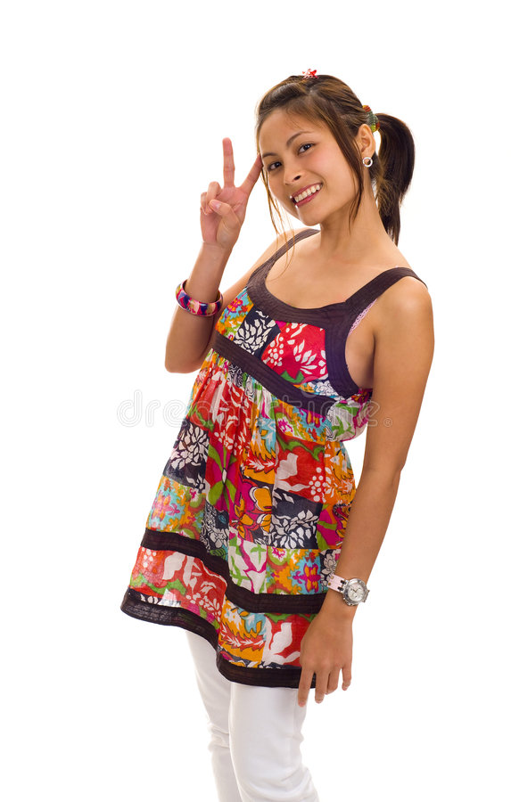 Download Asian Woman Making Victory Sign Stock Photo - Image: 9254500
