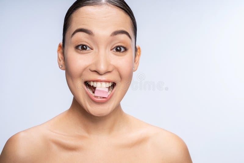 Beautiful Naked Woman Sitting On Floor Smiling Stock Image