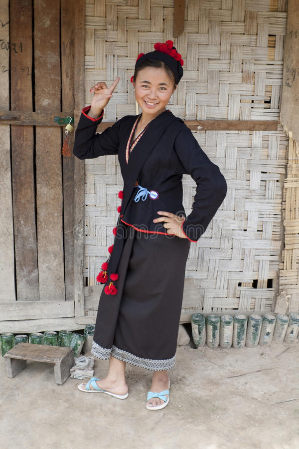 Asian woman in national costume, Laos. At Muang Singing ethnic group Phu Noi royalty free stock photo