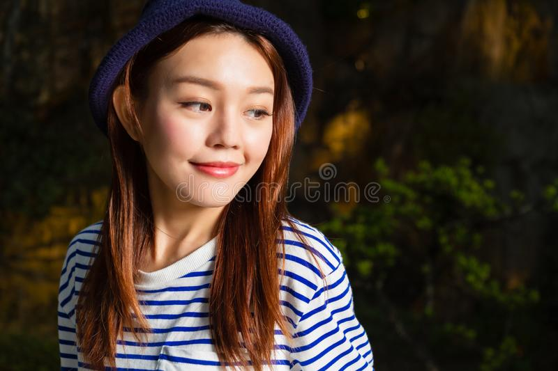 Asian woman with nature background stock photo