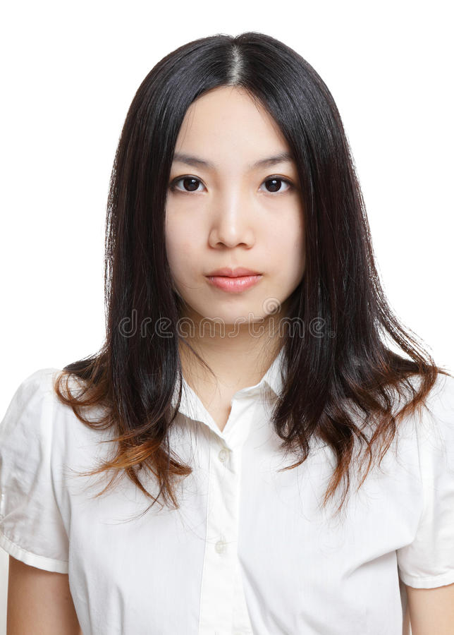 Asian woman over white background. Young asian woman over white background royalty free stock image