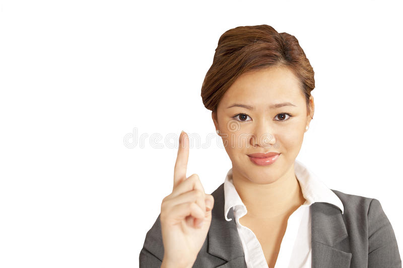 Download Asian Woman Points To Copy Space Stock Photo - Image of lovely, white: 17760310