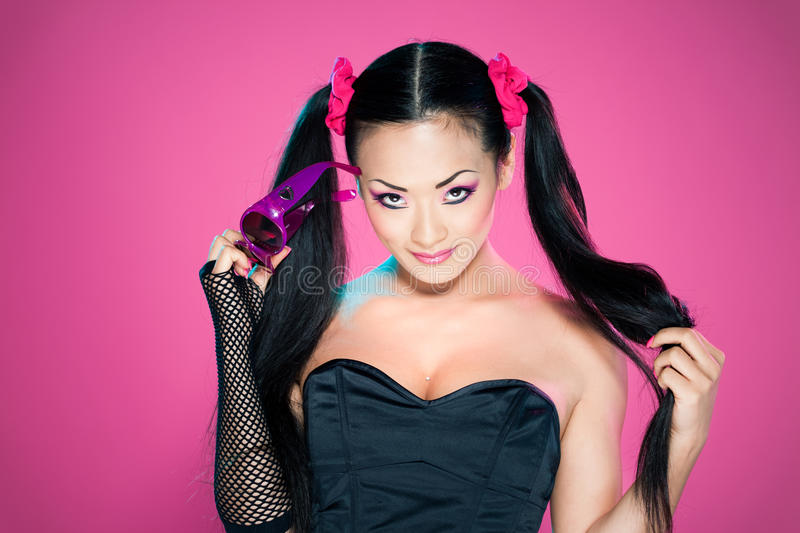 Download Asian woman with ponytails stock image. Image of black - 19499069