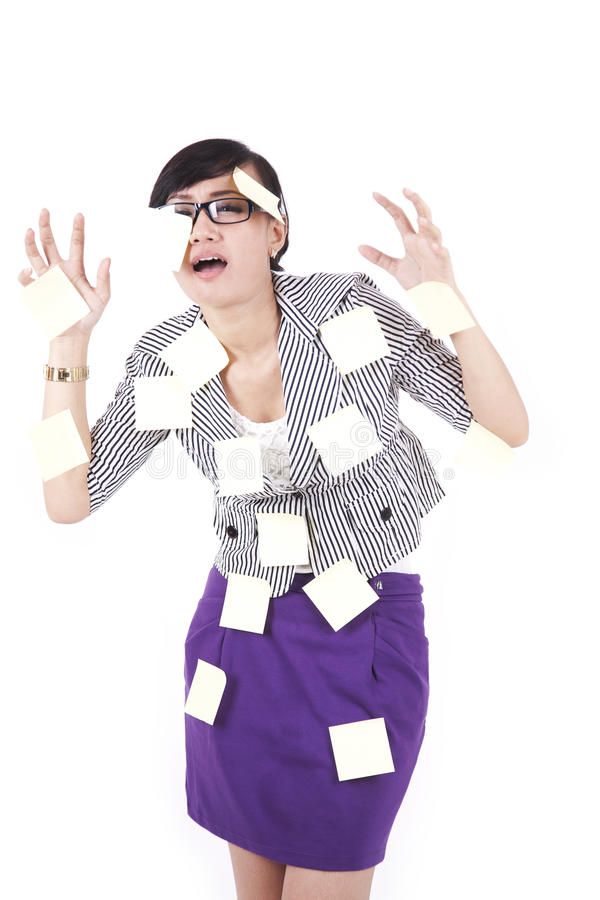 Download Asian woman with post-it stock image. Image of color - 22809837