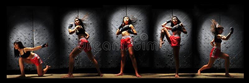 Asian Woman Practising Muay Thai Boxing royalty free stock image