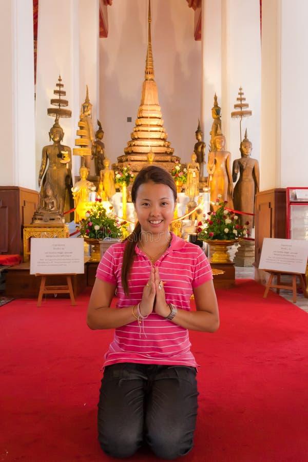 Asian woman praying stock photography