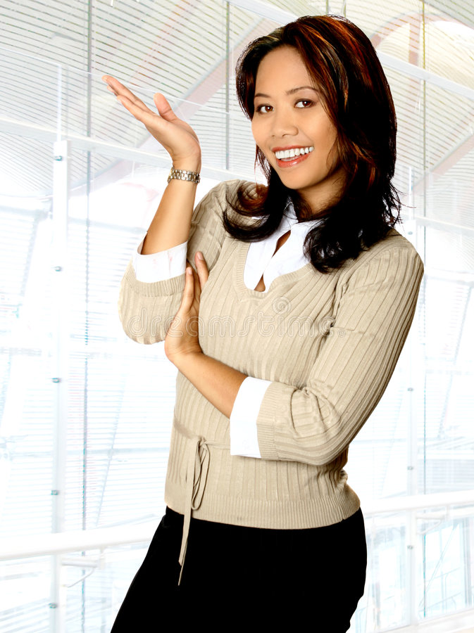 Asian woman, presenting stock photography