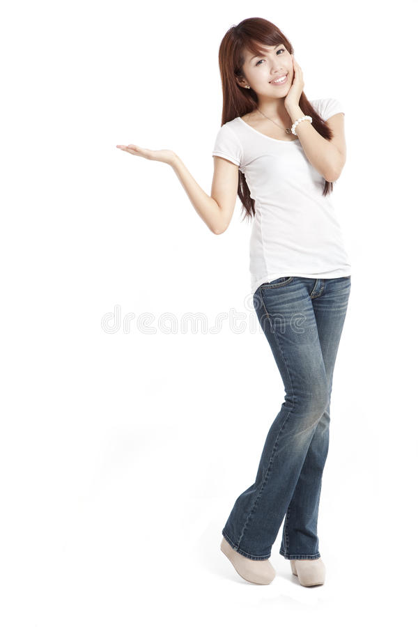 Asian woman presenting and showing royalty free stock images
