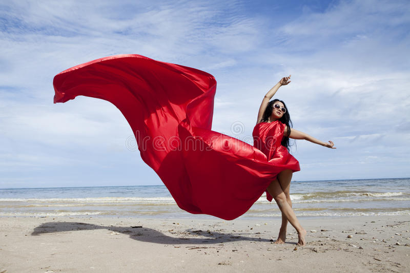 Download Asian woman in red stock image. Image of pose, outdoor - 22931921