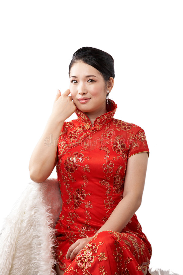 Asian woman in red dress stock images