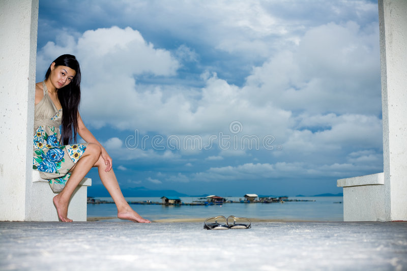 Asian woman relaxing on the outdoor