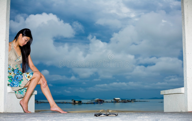 Asian Woman Relaxing On The Outdoor Stock Photos