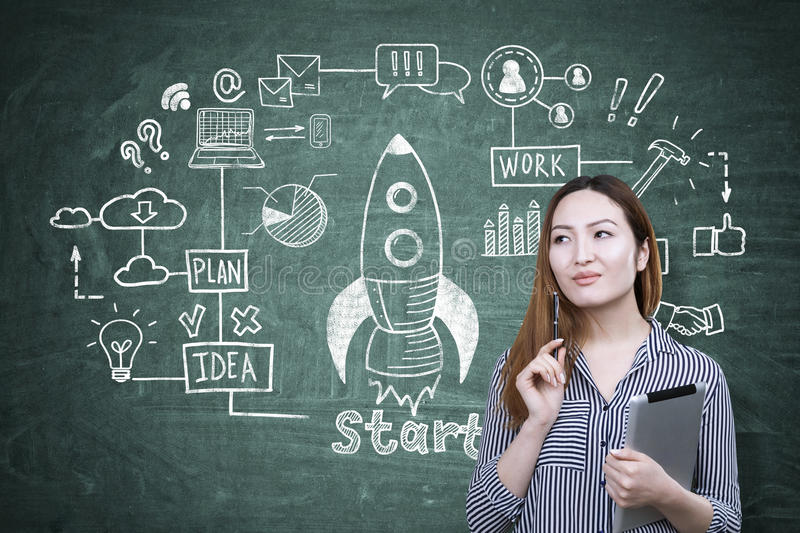 Asian woman and rocket, blackboard stock images