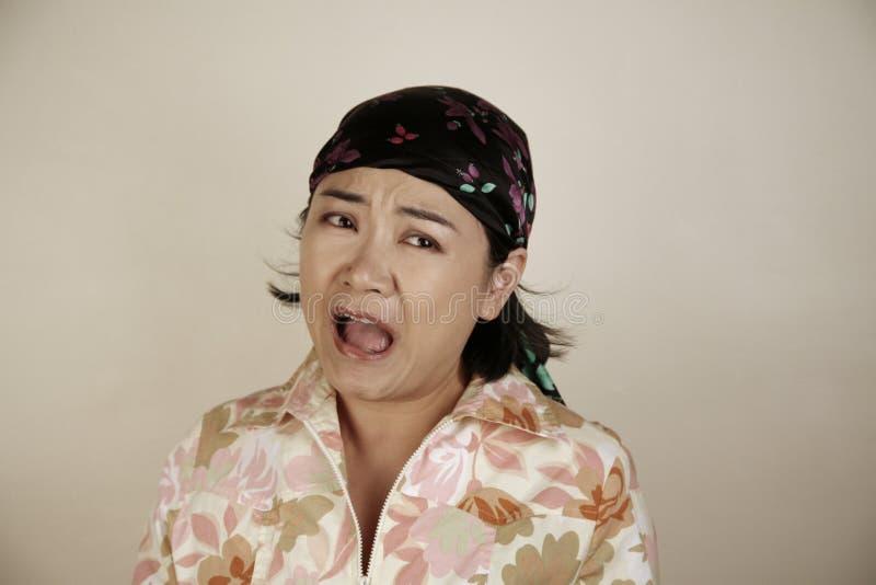 Asian woman screaming royalty free stock photo