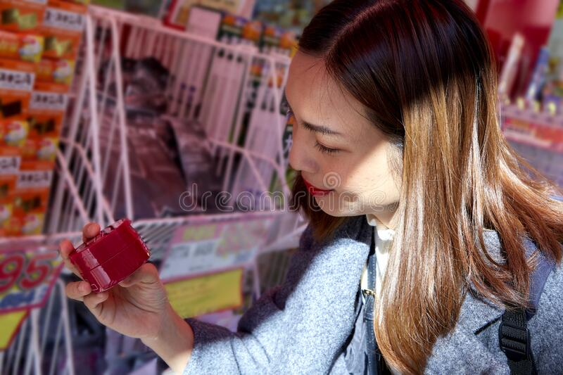 Asian Women shopping at the supermarket stock photography