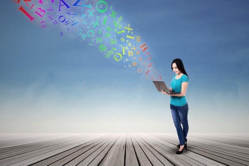 Download Asian woman sending e-mail stock illustration. Image of modern - 35051930