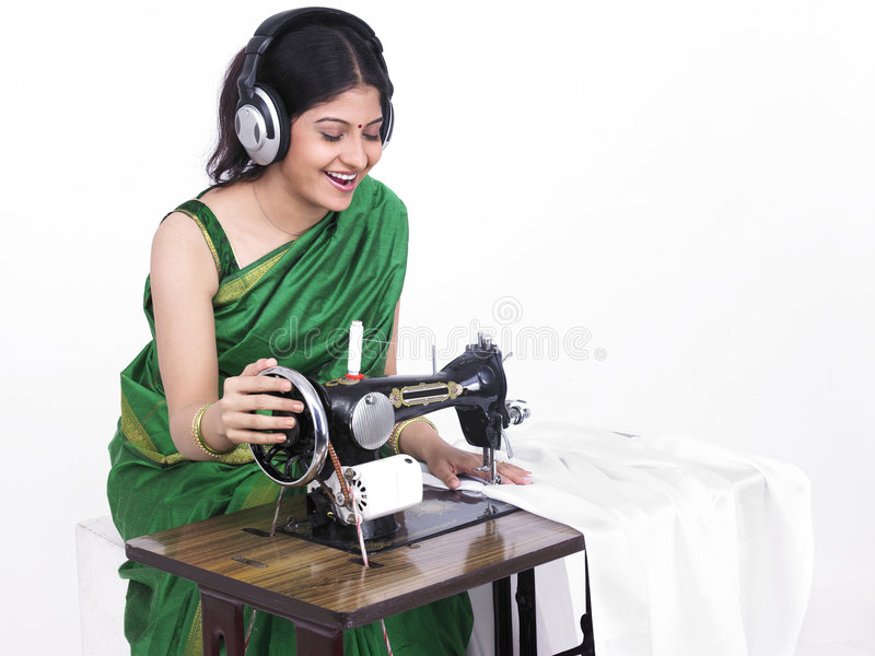 Download Asian Woman Sewing Royalty Free Stock Image - Image: 7333396