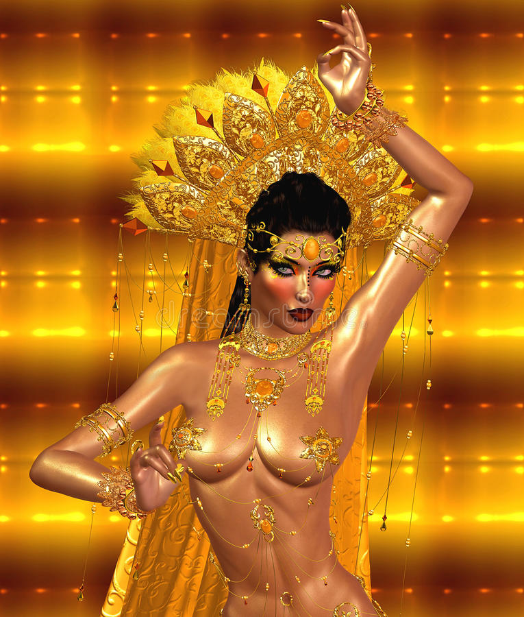 Asian woman with body, belly dancing. Beautiful face, cosmetics, diamonds and jewelry royalty free illustration