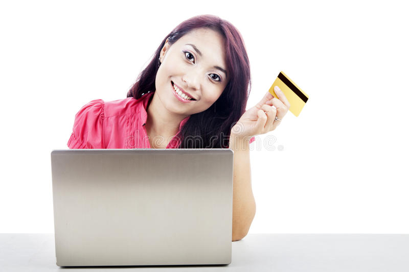 Download Asian Woman Shopping Online Stock Photos - Image: 25508443