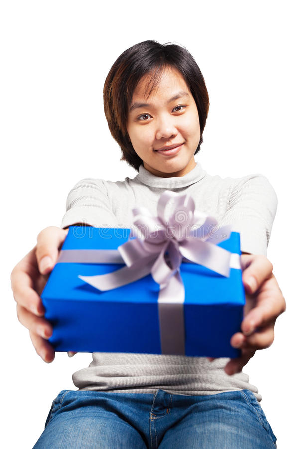 Asian woman short hair hold blue wrapped gift stock image