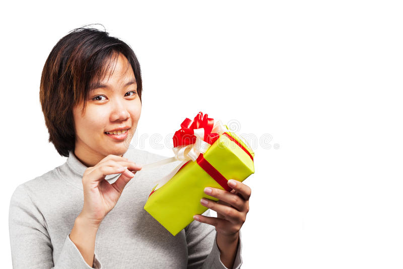 Asian woman short hair hold wrapped gift stock photo
