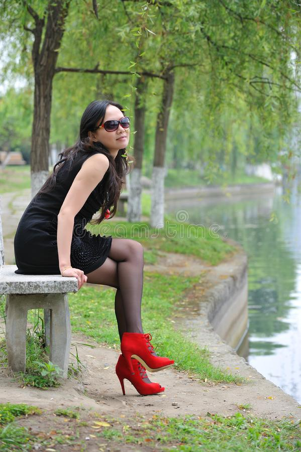 Download Asian woman sit in Chair stock photo. Image of high, beach - 14280076