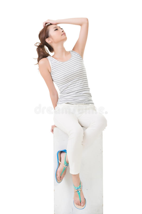 Asian woman sit and pose. Full length portrait stock photos