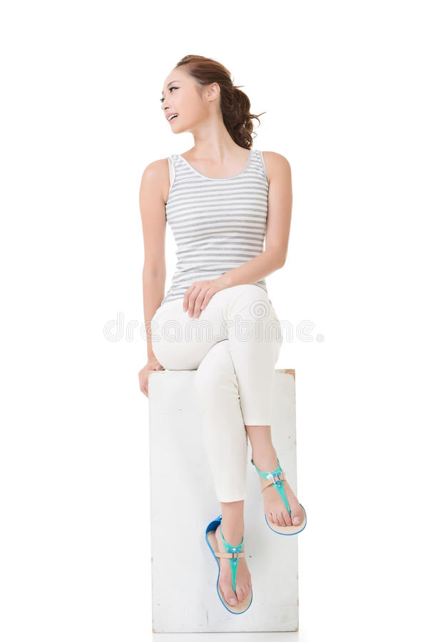 Asian woman sit and pose. Full length portrait stock images