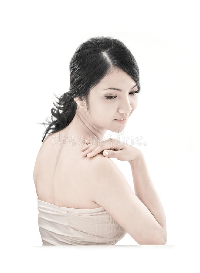 Asian woman with skincare look royalty free stock photo