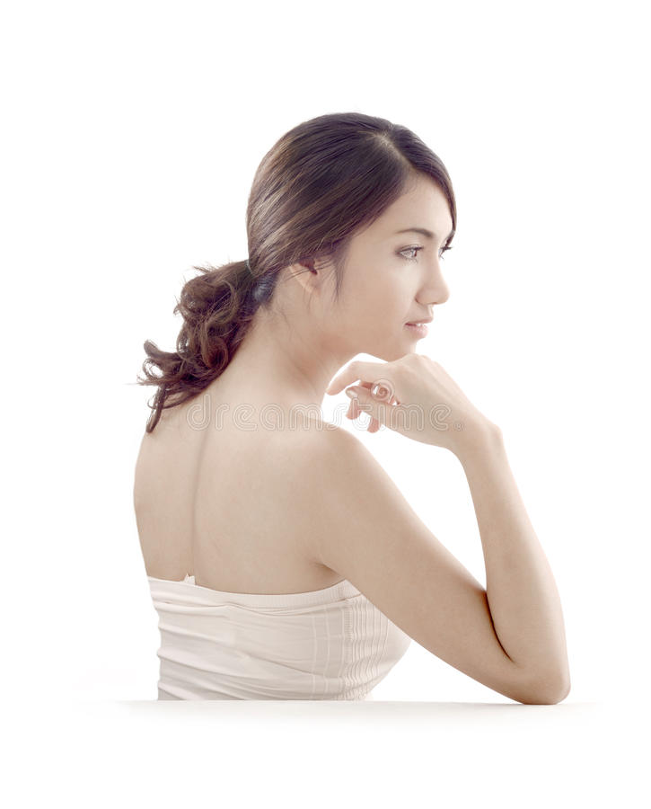 Asian woman with skincare look royalty free stock photos